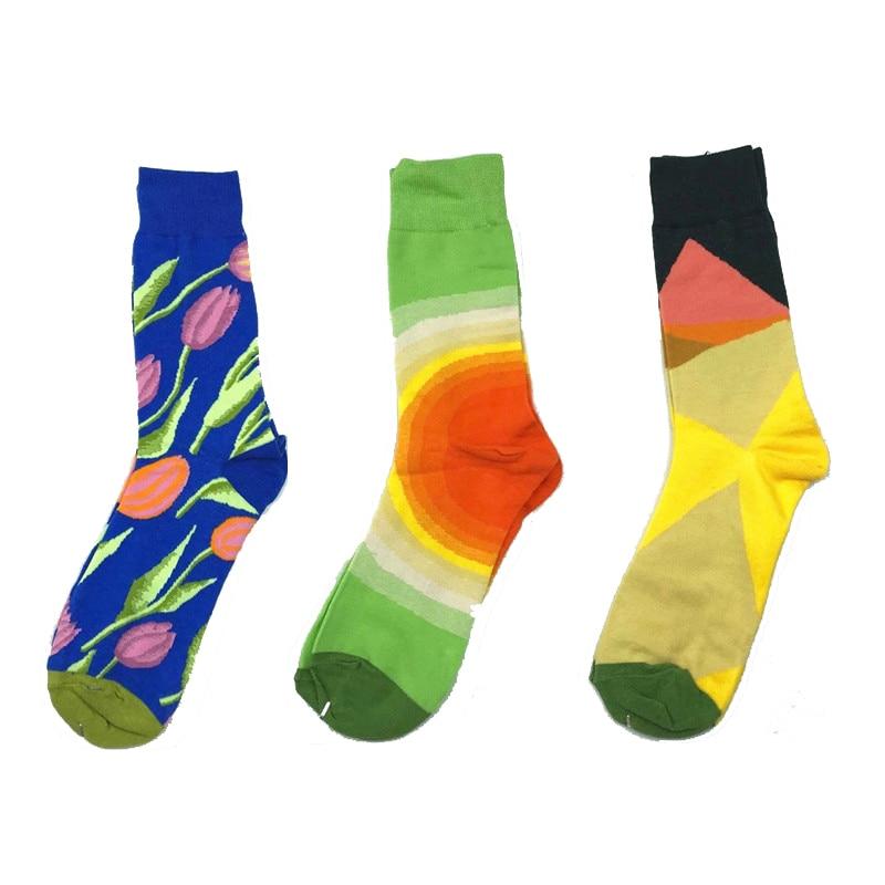 Funny Cotton Graffiti Tulip Pattern Printed Man Socks Hip Hop British Style Loose Crew Socks Unisex Casual Street Wear Colored