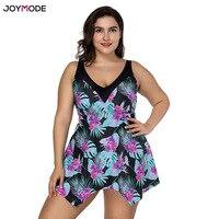 JOYMODE XL 4XL Plus Size One Piece Swimsuit Skirt 2018 Push Up Swimwear Women Dress Bathing