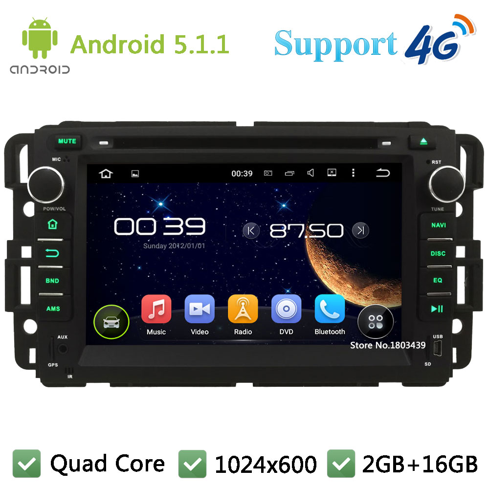 Quad Core 1024 600 Android 5 1 1 Car DVD Player Radio 3G 4G WIFI For