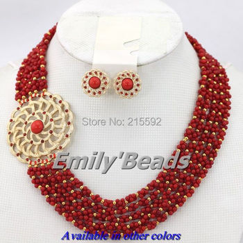 2014 New African Red Coral Beads Jewelry Set 5 Layers Nigerian Wedding Bridal Necklace Jewelry Set Free Shipping CJ223
