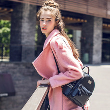 [XITAO] New winter European wind casual style solid color zipper irregular front long wide-waist turn-down collar trench XYB-040