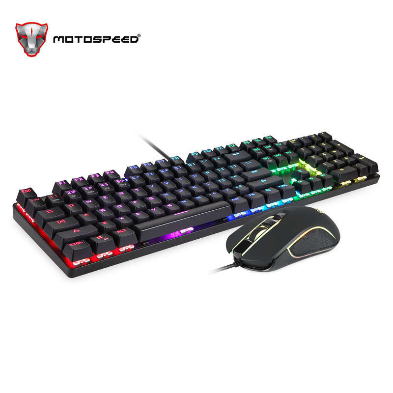 Motospeed CK888 Mechanical Keyboard LED with Color Luminous Backlit Multimedia Ergonomic Gaming Keyboard and Mouse Set for Game Motospeed CK888 Mechanical Keyboard LED with Color Luminous Backlit Multimedia Ergonomic Gaming Keyboard and Mouse Set for Game