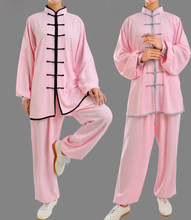 29colors Unisex taiji suits tai chi uniforms kung fu martial arts clothing black/pink/blue/red/rose/yellow(China)