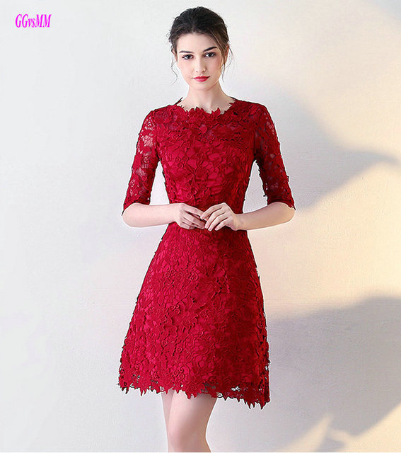 b9691852a5cd6 US $79.0  Elegant Burgundy Lace prom dresses 2018 New Sexy O Neck Casual  Dresses Knee Length A line Formal Evening Gown Short Party dress -in Prom  ...