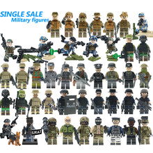 For Legoing WW2 Russian Italy US Germans British Military Army SWAT Soldiers Building Blocks Figure Legoing Starwars Brick Toy(China)