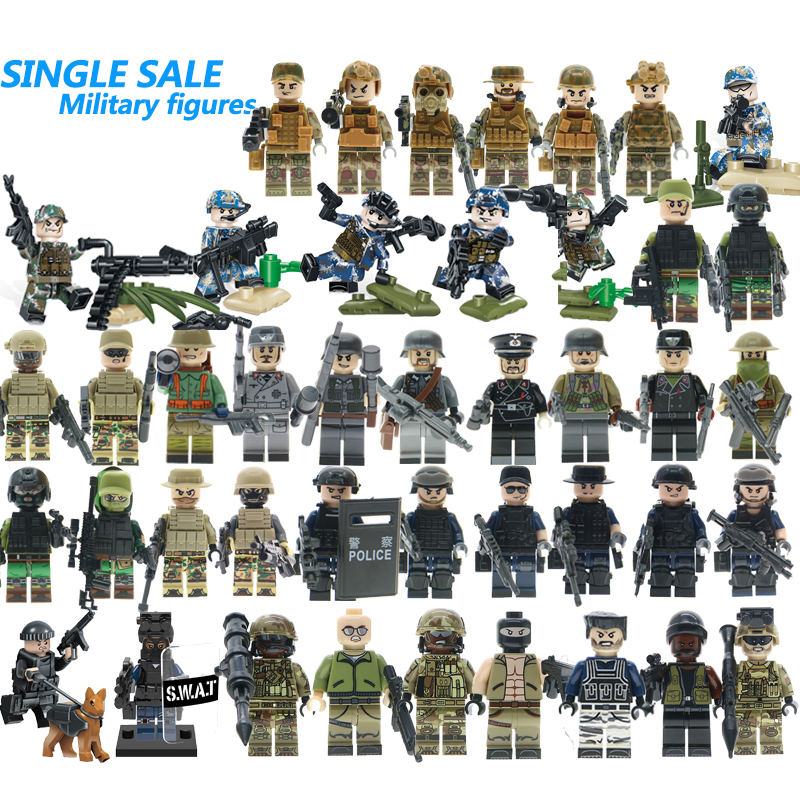 For WW2 Russian Italy US Germans British Military Army SWAT Soldiers Building Blocks Figure Starwars Brick Toy
