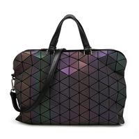 2018 New Design M Noctilucent Women Briefcase PU Leather Geometric S Ladies Strap Handbags Diamond Lattice