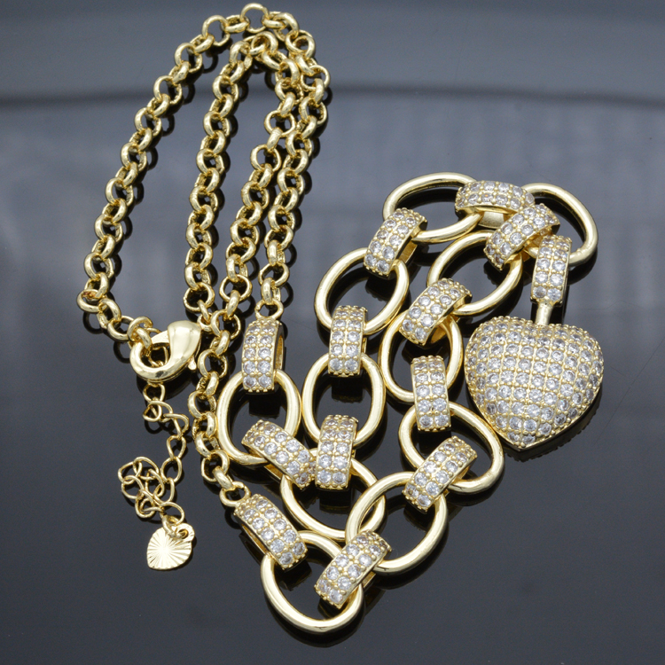 Women 39 s bracelet heart necklace white cubic zirconia new fashion jewelry wedding ball gift in Necklaces from Jewelry amp Accessories