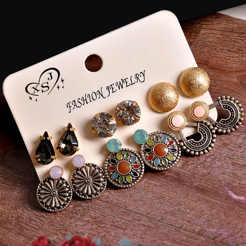 New fashion women's jewelry wholesale girls' party Bohemian style stud earrings mix and match 6 pairs /set earrings gift