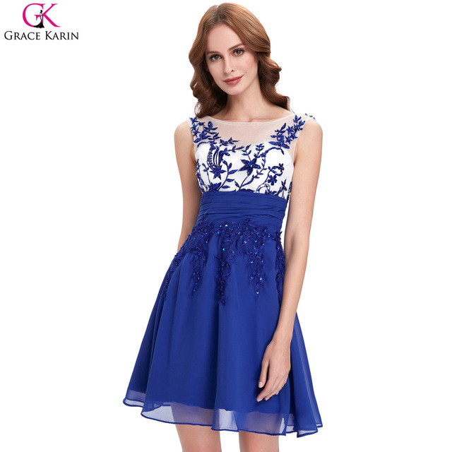 Short Evening Dresses Grace Karin Elegant Royal Blue Evening Gowns A Line Sheer Neck Applique Party Special Occasion Dress