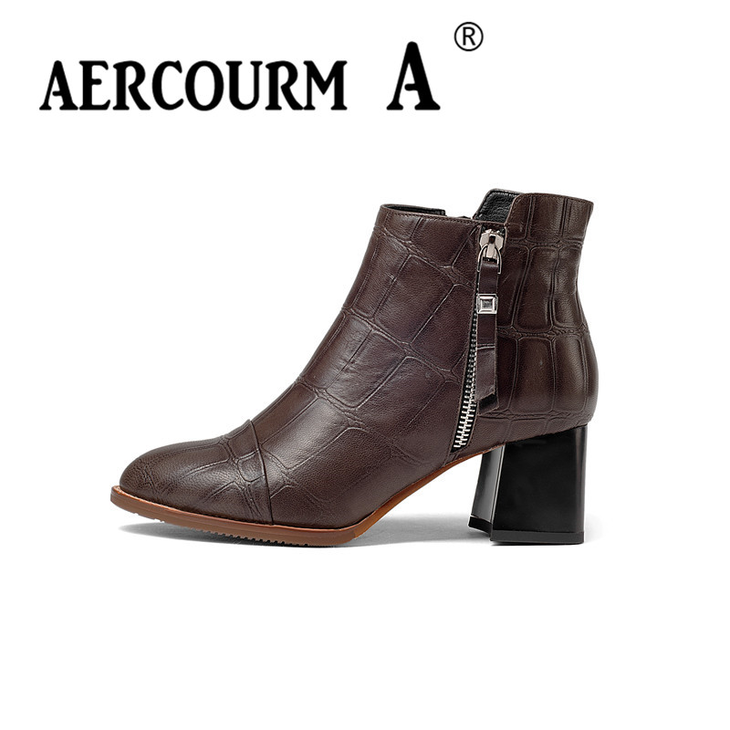 Aercourm A Women Winter Cowhide Ankle Boots Genuine Leather Boots Solid Pointed Toe Shoes Square High Heel Side Zipper Boots 952 winter solid real leather ankle fashion dr boots pointed toe side zip cowhide plus velvet high heel boot women casual thick