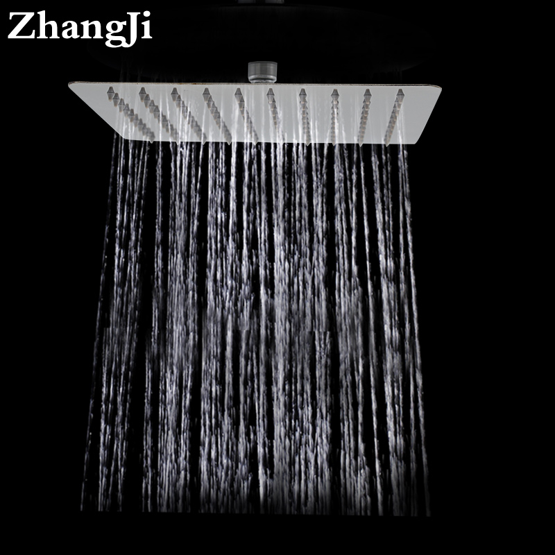 цены ZhangJi Bathroom wall mount big rainfall shower head 10 inch stainless steel square showerhead Simple 25cm waterfall top shower