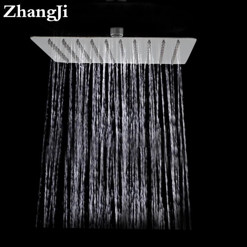 цены ZhangJi Bathroom wall mount big rainfall shower head 10 inch stainless steel square showerhead Simple 25cm waterfall top shower
