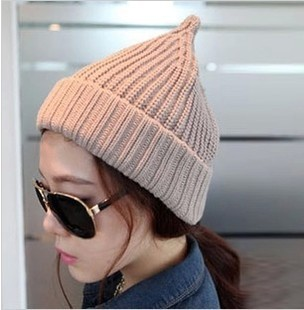 Pointed Hat knitted  -  Korean candy colored cap knitted wool hats men and women autumn winter warm couple Cap 90005 wool felt cowboy hat stetson black 50cm