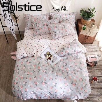 Solstice домашний текстиль розовый цветочный серый пододеяльник наволочку лист девочек подростков взрослая женщина льняное постельное белье ...
