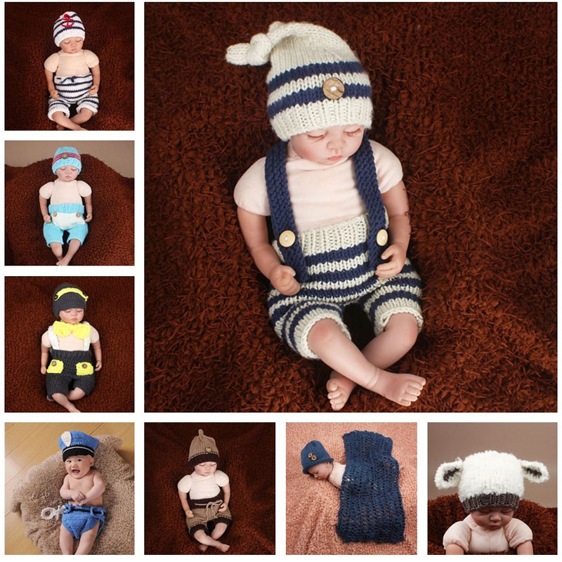 Latest Crochet Newborn Baby Photography Props Knitted Baby Hat Pants Costume Set Policeman Sailor Elf Outfit SG055 newborn baby pants with bear hat set knitted pants newborn photo props baby photography props baby rompers