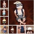 Mais recente Crochet Bebê Recém-nascido Fotografia Props Chapéu Do Bebê de Malha Calças Set Traje Policial Marinheiro Elf Outfit SG055