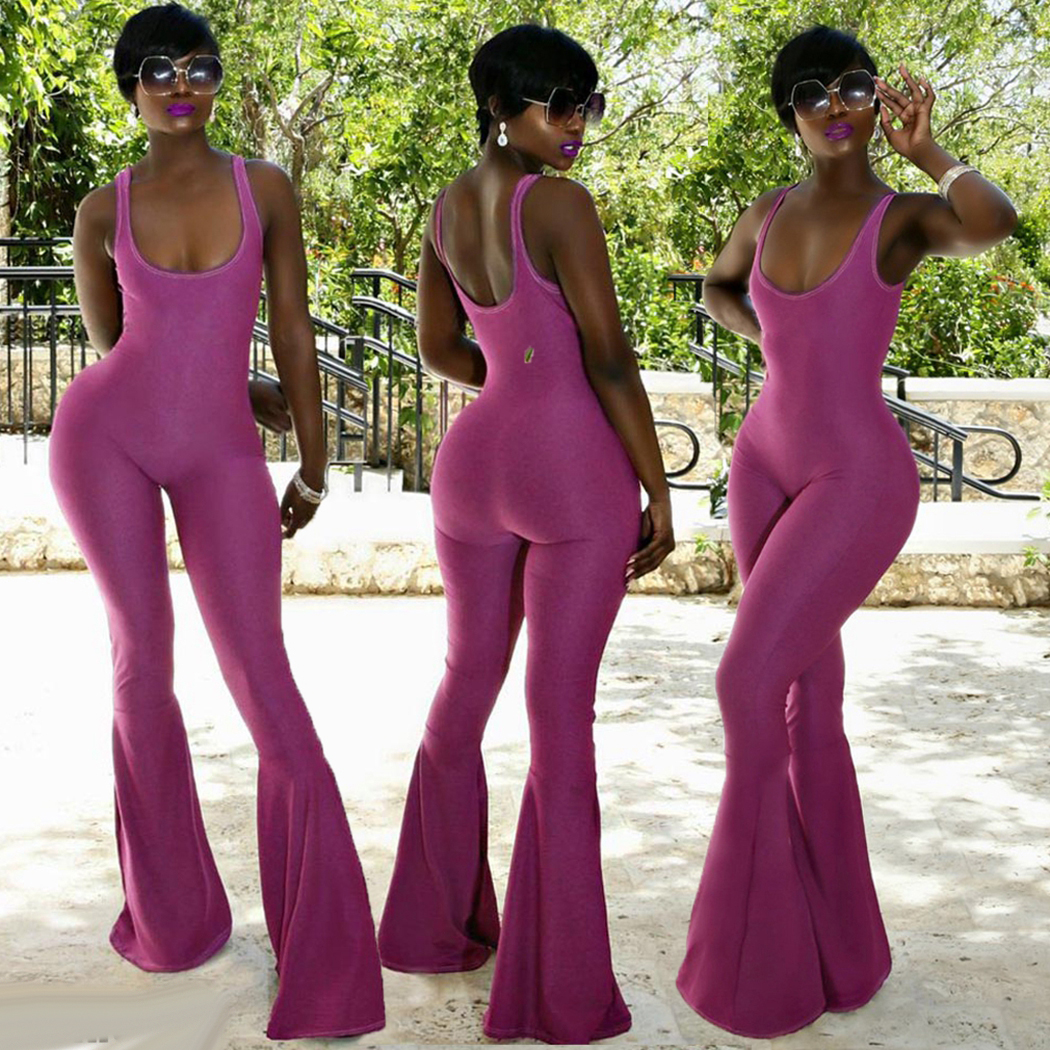 Sexy Backless Wide Leg Pants Jumpsuits Women Summer Sleeveless U Neck Flare Pants Romper Fashion Ladies Slim Playsuits Overalls