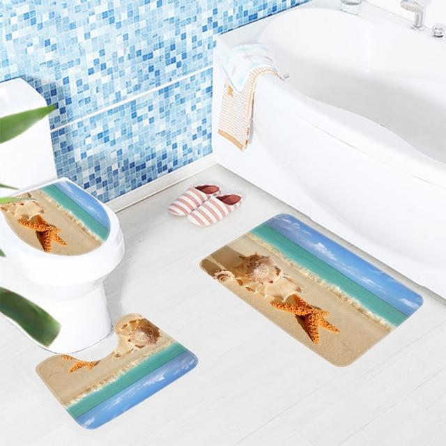 3pcs Bathroom Rug Set Beach Starfish Seashell On Beach Pattern Bath Mat Non  Slip Toilet Mat
