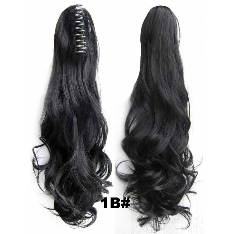 Drawstring Claw Ponytail 1B Black Wavy Curly 55Cm 160G -2448