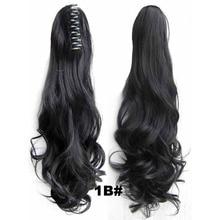 Drawstring Claw Ponytail 1B Black Wavy Curly 55cm 160g Ponytails Synthetic Hair Extension Fiber Fashion Women