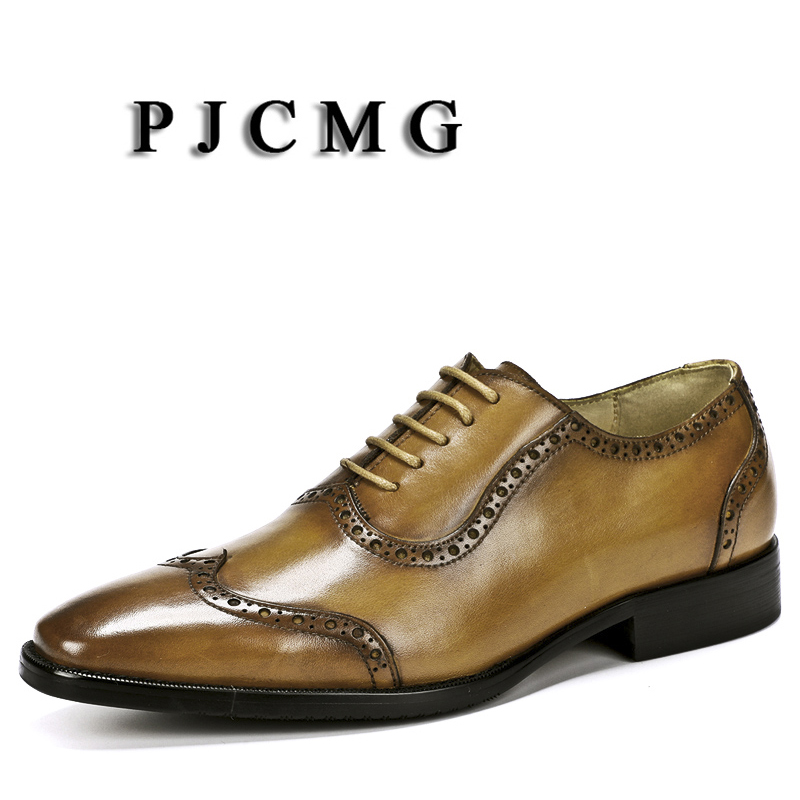 PJCMG Fashion Men Oxford Black/Brown Lace-Up Pointed Toe Solid Office Genuine Leather Carved Dress Size 38-46 Wedding Male ShoesPJCMG Fashion Men Oxford Black/Brown Lace-Up Pointed Toe Solid Office Genuine Leather Carved Dress Size 38-46 Wedding Male Shoes