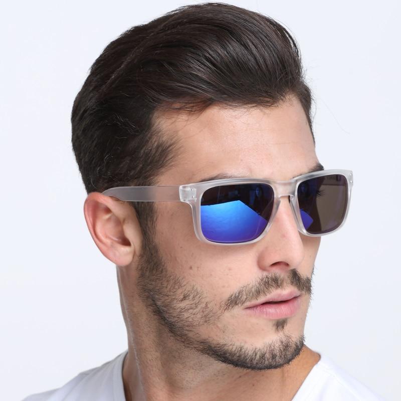 Dokly Transparent Frame And Blue Lens  Sunglasseswomen Reflective Coating Square Sun Glasses Women Brand Designer