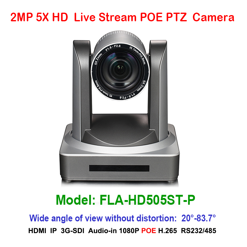 2MP Full HD Indoor Digital Video POE 1080P PTZ Camera IP 5x Optical Zoom 1920x1080 at 60fps HDMI 3G-SDI 83.7 degree FOV 2mp ptz 1080p 60fps ip live streaming camera 5x zoom 83 degree wide view with simultaneous hdmi and 3g sdi outputs