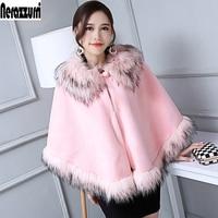 Nerazzurri Winter cardigan Ladies Faux Fur Cape With Fox Fur Trim Cute Pink Furry Fluffy Poncho Women Fake Rabbit fur Coat Cloak