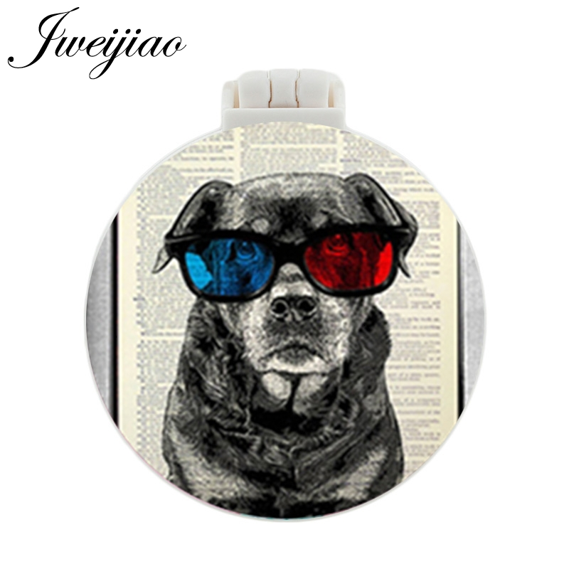 JWEIJIAO Beagle retriever pug bulldog boxer black lab Dogs Pocket Mirror With Massage Comb Folding Makeup Hand Vanity Mirrors in Makeup Mirrors from Beauty Health
