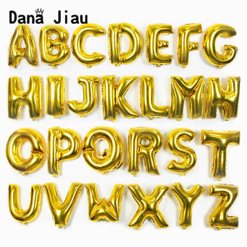1 pc 16 polegada A a Z carta ouro folha de alumínio balões da Festa de aniversário de Casamento DIY alfabeto balão de ar Inflável decorações