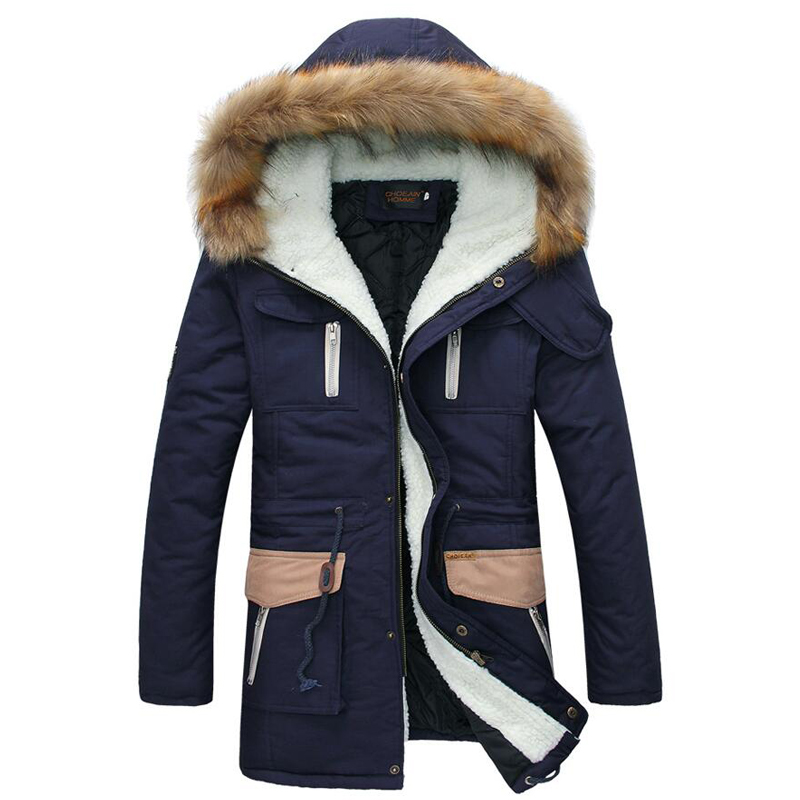 New Fashion Keep Warm Long Coats Thick Fur Collar Winter Coat Men Hooded Parka