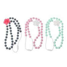 Baby Teething Toy Silicone Training Teethers Necklace Rose Flower Pendant Chewing Gifts Beads Pacifier Clip