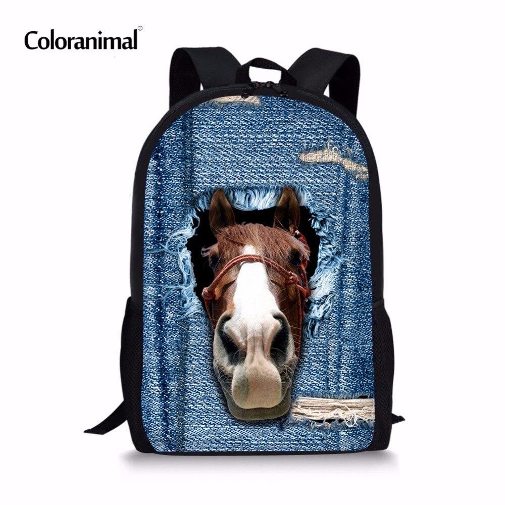 Coloranimal 3D Blue Denim Animal Pattern Large Pupil Children Kids Teenager Girl Boys Mochilas Schoolbags Crazy Horse Backpack
