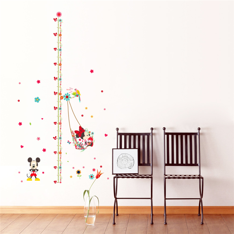 Minnie Mickey Mouse Growth Chart Wall Stickers For Kids Room Decor Diy Cartoon Mural Art Nursery Movie Home Decals Children Gift