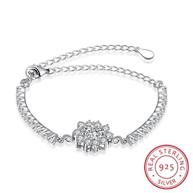 Luxo Real de 100% 925 Sterling Silver AAA Pulseira Zircão Mulher Engagement Jóias de Qualidade Top Marcas de TRUELOVE H050