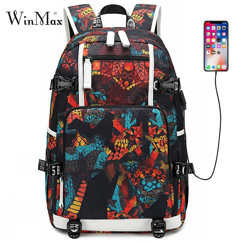 2019 Graffiti Print School Bags For Boys Teenagers USB Laptop Backpacks Galaxy Large Backpack Student Travel Bag Daypack Mochila in Backpacks from Luggage Bags