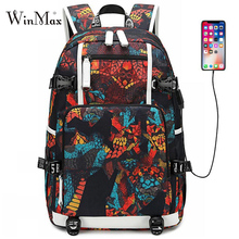 2019 Graffiti Print School Bags For Boys Teenagers USB Laptop Backpacks Galaxy Large Backpack Student Travel Bag Daypack Mochila