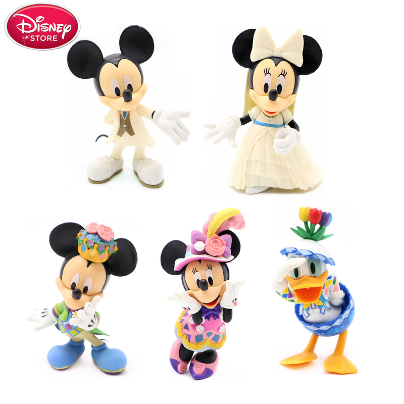 Mickey And Minnie Wedding.Us 13 43 21 Off Disney Mickey Mouse 5 Pcs Set Mickey Minnie Wedding Donald Duck Action Figures 11cm Pvc Model For Kids Girls Toys Doll Gift In