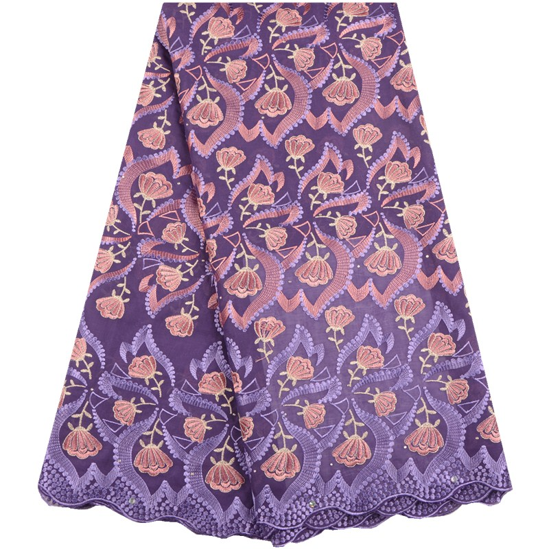 Purple 2019 African Lace Fabric Embroidered Nigerian Cotton Lace Fabric High Quality French Tulle Lace Fabric