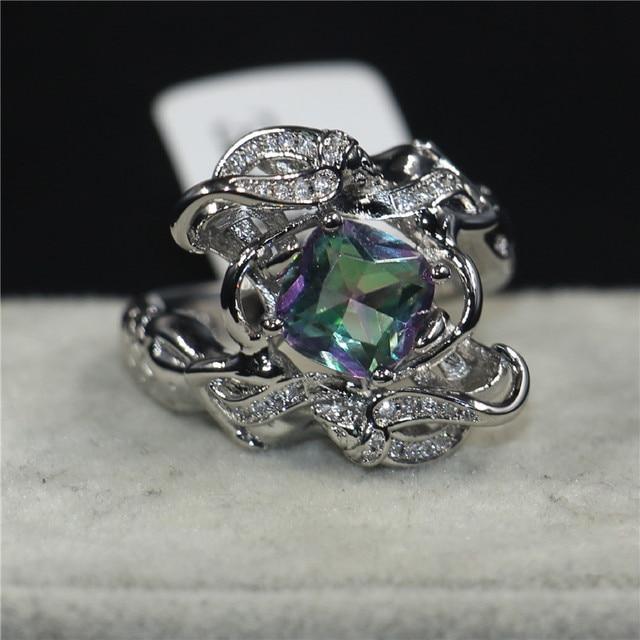 973b33e9d4675b choucong Jewelry Lady's Fashion cute Mermaid ring cushion cut 8mm Rainbow  Birthstone Cz 925 Sterling Silver