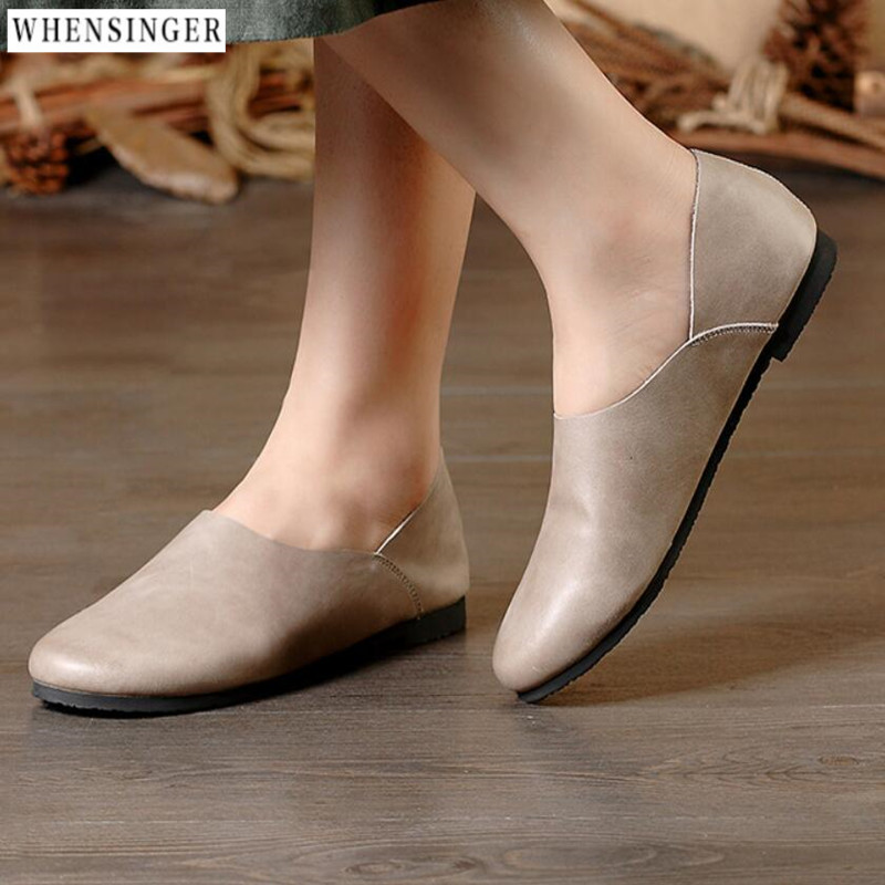 Whensinger - Spring Women Flats Platform Loafers Shoes Female Suede Leather Casual Shoes Slip on Flats elegant Moccasins whensinger 2017 woman shoes female genuine leather flats slip on summer fashion design f927