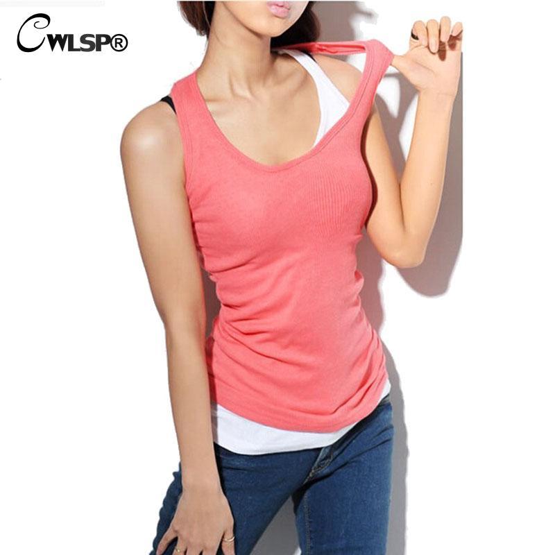 Cwlsp 2017 Summer Women Tank Tops 100 Cotton Camis O Neck -5522