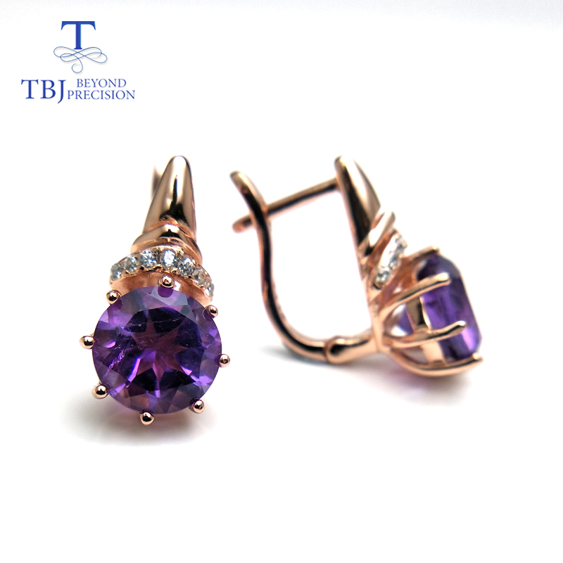 TBJ Natural African good luster color amethyst gemstone clasp earring 925 sterling silver rose gold fine