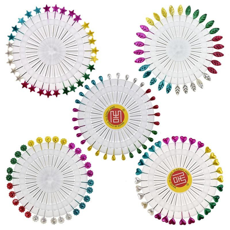 30pcs / set Cute 5.5cm Mixed Colors DIY Flower Leaf Head Pins Round Pearl Head Pins Dekoratyvinis siuvimo siuvimo įrankis