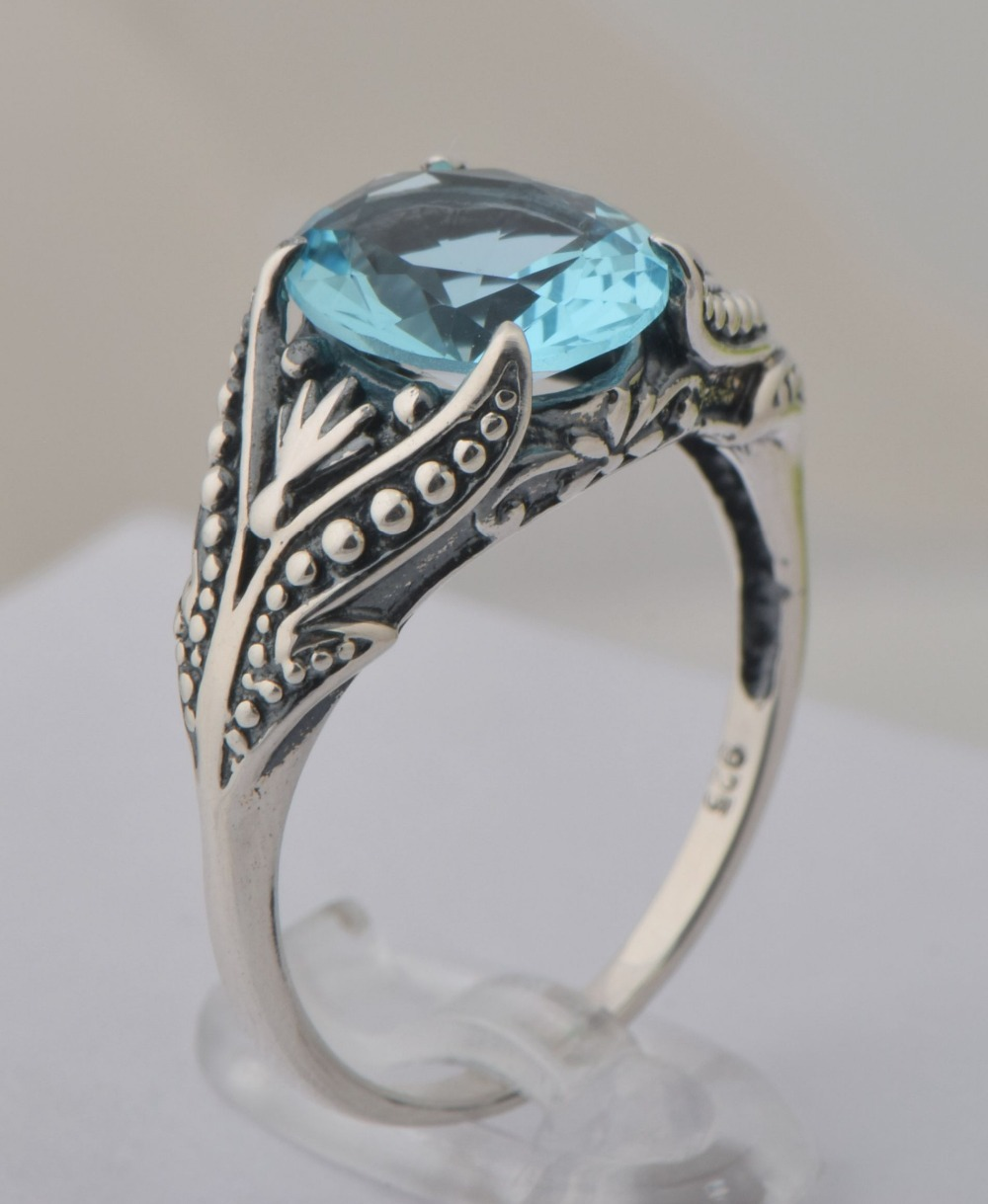 ca8704ddac721 US $26.99 |Fashion 925 sterling silver Roman style restoring ancient ways  fine carving queen aquamarine index finger rings-in Rings from Jewelry & ...