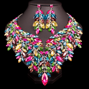 Image 2 - Luxury Big Crystal Statement Necklace Earrings Dubai Jewelry Sets Indian Bridal Wedding Party Womens Fashion Costume Jewellery
