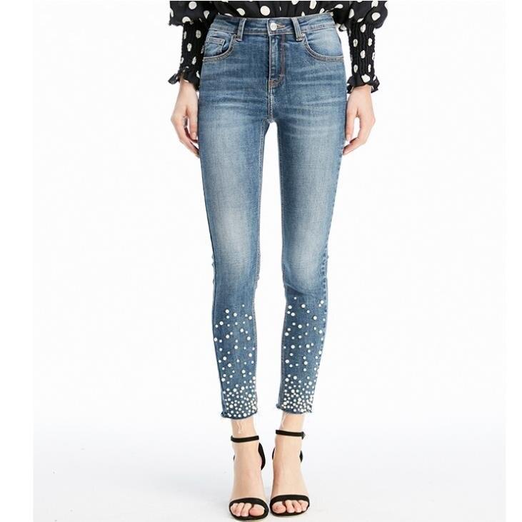 Nouvelle Arrivée Plus La Taille Jeans Avec Perles Femmes Élégant Extensible Denim Maigre perles taille haute crayon jeans