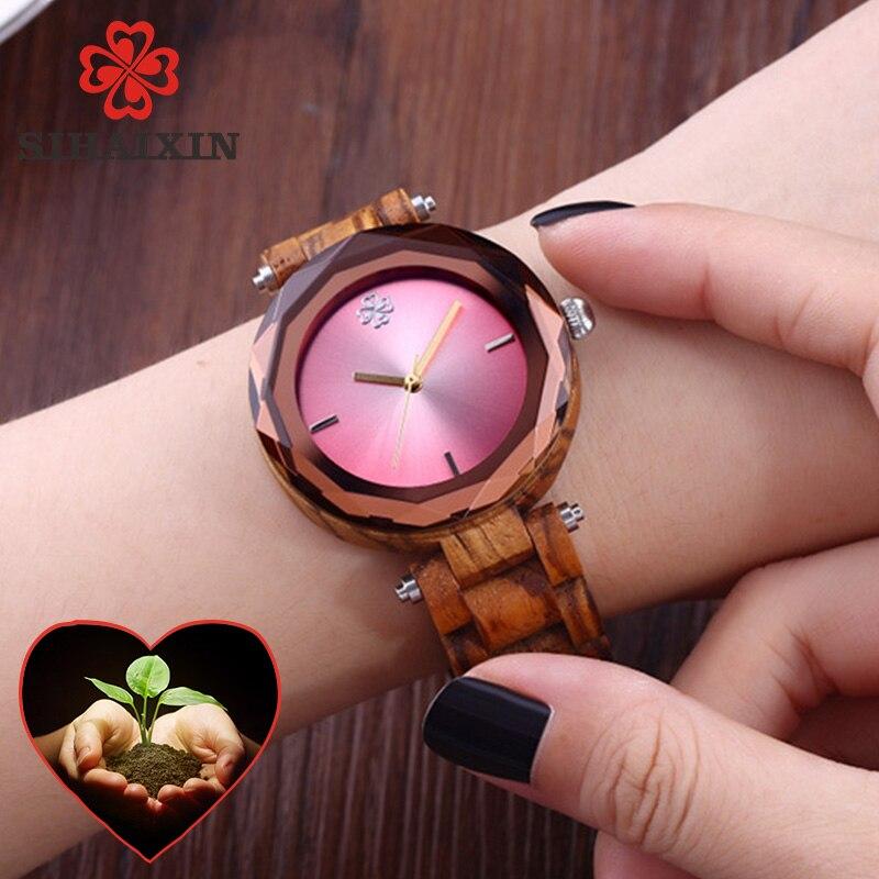 2019 Hot Sale Wooden Women Small Watches Pink Fashion Luxury Exquisite Quartz Wristwatch Geometric Lady Clock Gift Dropshipping