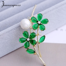 Jewecexpress  Popular green clear  zircon Brooches Women jewelry Party wedding Christmas gift